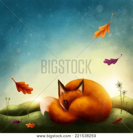 Illustration of a little red fox in autumn