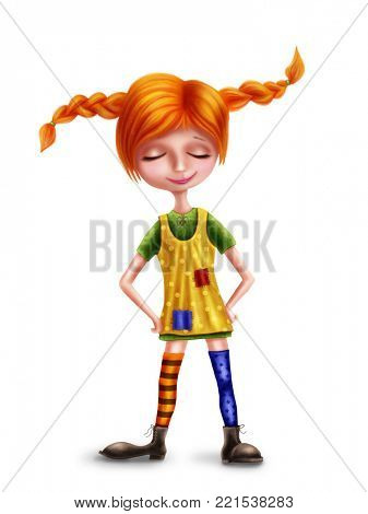 Illustration of Pippi Longstocking isolated on a white background