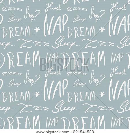 Bed linen design pattern. Sleepy doodle - sleep time vector texture with handwritten words.