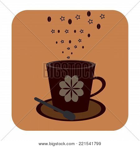 Cofee cup icon on the brown background
