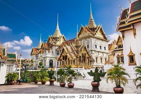 Bangkok, Thailand - Jan 21 2016: Grand Palace in Phra Nakhon on Jan 21, 2016 in Bangkok, Thailand.