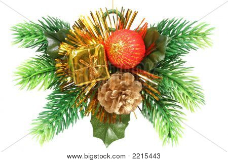 Christmas Ornament In The Form Of A Branch With Gift