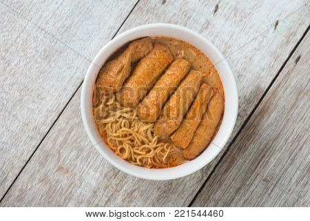 Top view Hot and spicy Malaysian Curry Noodle or laksa mee. Malaysia food.