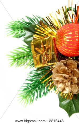 New Year's Ornament In The Form Of A Branch With Cone