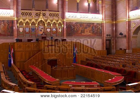 Main hall of Hungarian House of Parliament