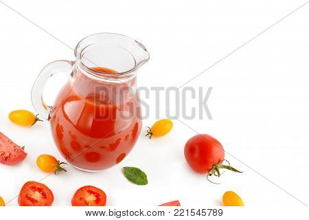 Fresh tomato juice and tomatoes isolated on white background. Flat lay,top view. Free space for text.