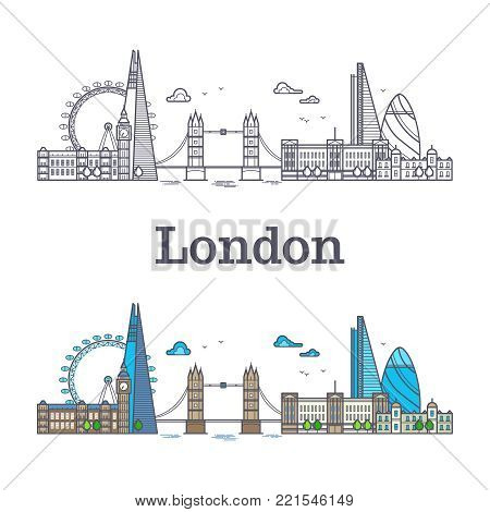 London city skyline with famous buildings, tourism england landmarks outline and bright vector illustration