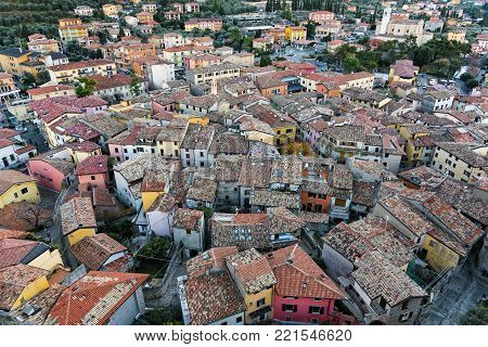 View of the historical center of the town of Malcesine on the eastern shore of Lake Garda in northern Italy