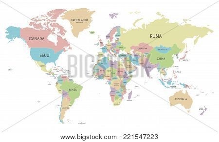 Political World Map vector illustration isolated on white background with country names in spanish. Editable and clearly labeled layers.