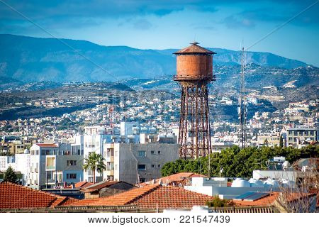 Limassol Water Tower, View Over Town. Cyprus.