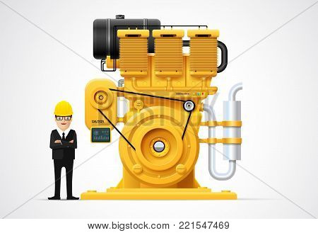 Industrial engine machinery factory engineering construction equipment vector illustration