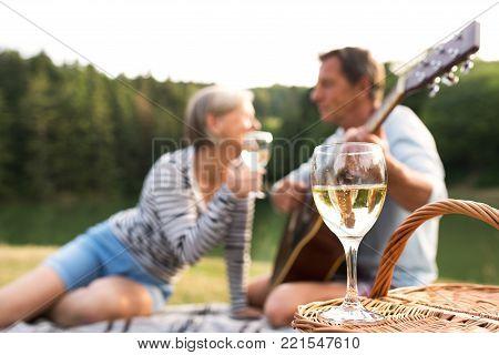 Beautiful senior couple at the lake having a picnic, sitting on blanket, drinking wine. Man playing guitar.