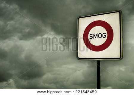 roadsign smog area under dark sky - 3d illustration