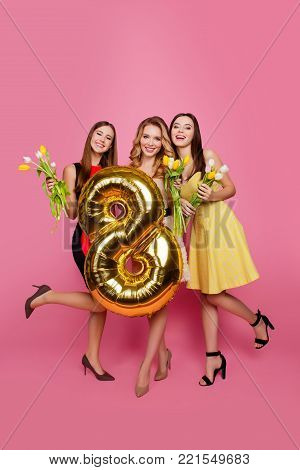 Three Happy Beautiful Girls, Party Time Of Stylish Girls Group In Elegant Dresses Celebrating Birthd
