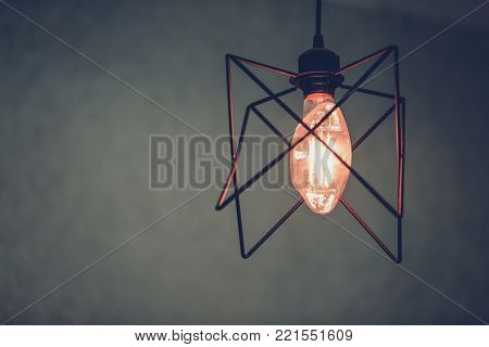 Decoration antique edison led light style filament light bulbs , turn on the light with Gray background and copyspace ,color vintage style,Thailand