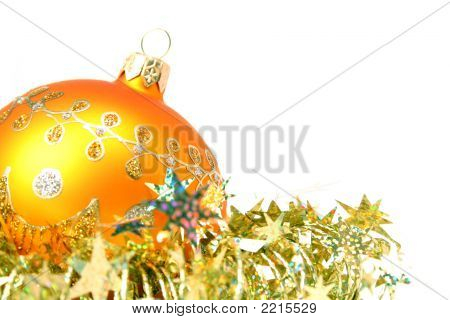 Christmas Sphere Of Yellow Color And Celebratory Tinsel 5