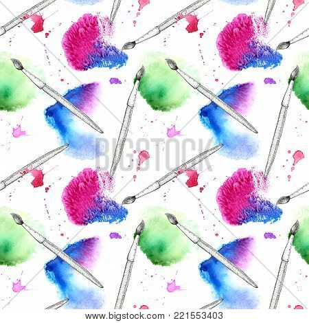 Brush and blue and pink watery blot seamless pattern.Abstract watercolor hand drawn illustration.Azure splash.White background.