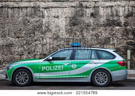 MUNICH, GERMANY - DECEMBER 18, 2017: BMW from the Bavarian State police (polizei) taken in Munich. The Bavarian State Police is in charge of law enforcement in the State of Bavaria.