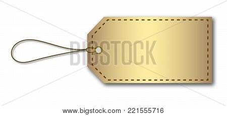 blank cardboard price tag label with dashed border and string