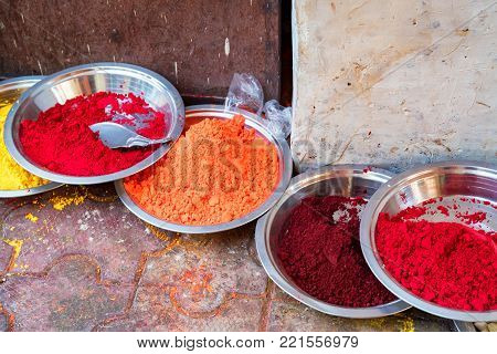 Indian pigments for bindi painting close up