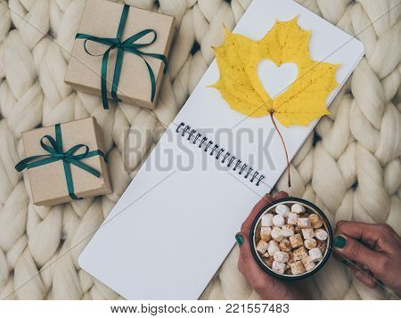 Cozy composition, hot chocolate with marshmallows, merino wool blanket, warm and comfortable atmosphere. Knit background. Flat lay. Top view. Copy space. Autumn concept.Wrapped gifts.