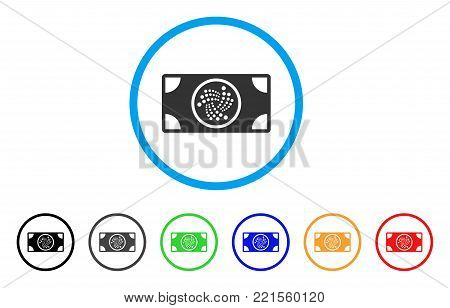 Iota Banknote rounded icon. Style is a flat gray symbol inside light blue circle with additional colored versions. Iota Banknote vector designed for web and software interfaces.