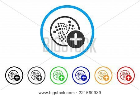 Add Iota rounded icon. Style is a flat gray symbol inside light blue circle with bonus color variants. Add Iota vector designed for web and software interfaces.