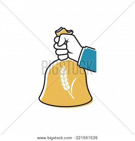 Male farmer holding wheat bag in hand. Black line minimal design. Organic grain concept. Good grain harvest. Agriculture, harvesting. Vector illustration flat style. Isolated on white background.
