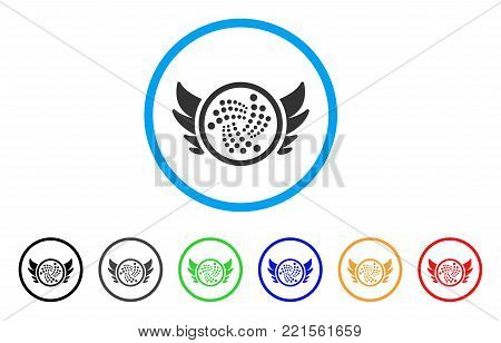 Iota Angel Investment rounded icon. Style is a flat gray symbol inside light blue circle with additional color variants. Iota Angel Investment vector designed for web and software interfaces.