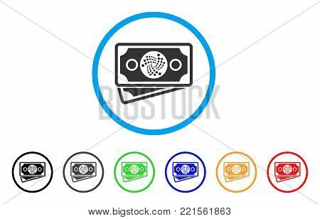 Iota Banknotes rounded icon. Style is a flat grey symbol inside light blue circle with additional color versions. Iota Banknotes vector designed for web and software interfaces.