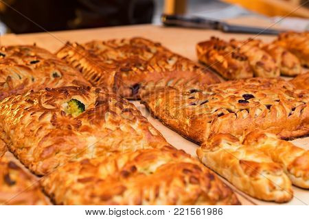 Close-up of coulibiac, traditional Russian stuffed pie