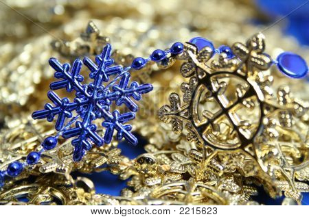 Christmas Garlands Of Dark Blue And Yellow Color