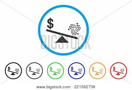 Iota Dollar Balance Scale rounded icon. Style is a flat gray symbol inside light blue circle with bonus colored versions. Iota Dollar Balance Scale vector designed for web and software interfaces.