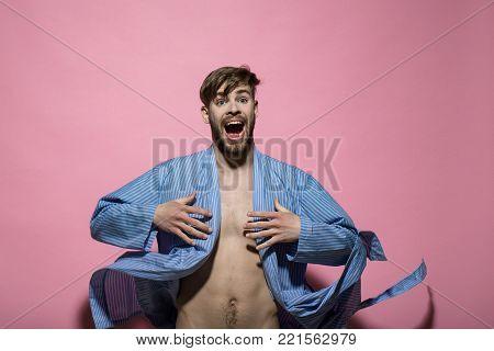 Happy Macho With Sexy Torso In Bathrobe