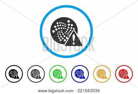 Iota Error rounded icon. Style is a flat grey symbol inside light blue circle with additional color versions. Iota Error vector designed for web and software interfaces.