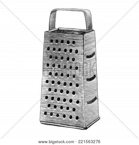 Grater hand drawn kitchen and cooking illustration. Pencil on white background