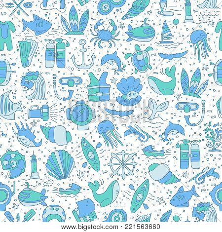 Diving hand draw cartoon seamless pattern. Diving and water sport and adventure repeatable background with diving and scuba equipment, sea life, animals and cartoon vector elements. Diving seamless background, vecror sketch