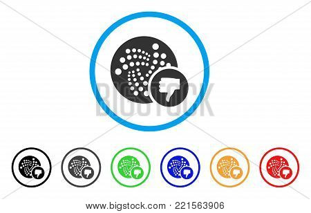 Iota Thumb Down rounded icon. Style is a flat gray symbol inside light blue circle with bonus color variants. Iota Thumb Down vector designed for web and software interfaces.