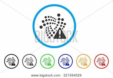 Iota Warning rounded icon. Style is a flat grey symbol inside light blue circle with additional colored versions. Iota Warning vector designed for web and software interfaces.
