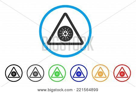 Cardano Danger rounded icon. Style is a flat grey symbol inside light blue circle with additional colored variants. Cardano Danger vector designed for web and software interfaces.