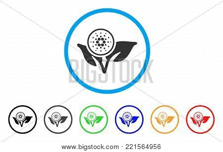 Cardano Eco Startup rounded icon. Style is a flat gray symbol inside light blue circle with bonus colored variants. Cardano Eco Startup vector designed for web and software interfaces.