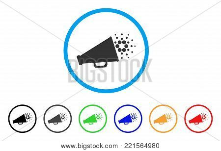 Cardano Megaphone rounded icon. Style is a flat gray symbol inside light blue circle with bonus colored versions. Cardano Megaphone vector designed for web and software interfaces.