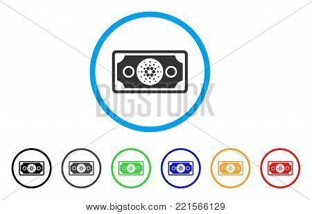 Cardano Banknote rounded icon. Style is a flat gray symbol inside light blue circle with additional color versions. Cardano Banknote vector designed for web and software interfaces.