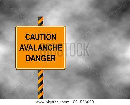 Yellow Bord isolated on a grey sky. A sign warning skiers and snowboarders that the are caution avalanche danger. Vector illustration