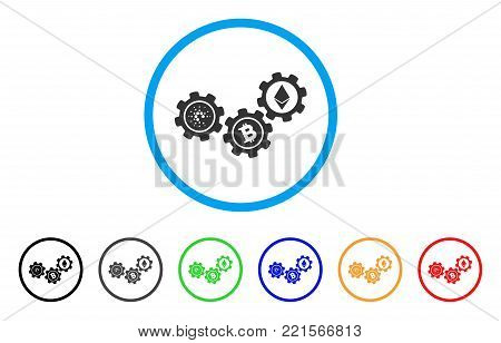 Cardano Cryptocurrency Gears rounded icon. Style is a flat grey symbol inside light blue circle with bonus color versions. Cardano Cryptocurrency Gears vector designed for web and software interfaces.