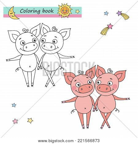 Zodiac sign Gemini. Vector illustration of cute pigs in cartoon style, linear drawing. Black and white, colorful images, be used for coloring book.