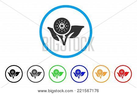 Cardano Eco Startup rounded icon. Style is a flat grey symbol inside light blue circle with additional colored variants. Cardano Eco Startup vector designed for web and software interfaces.