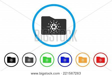Cardano Folder rounded icon. Style is a flat gray symbol inside light blue circle with bonus color versions. Cardano Folder vector designed for web and software interfaces.
