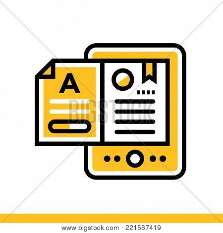 Outline icon E-books. Online education, e-learning. Suitable for print, website and presentation