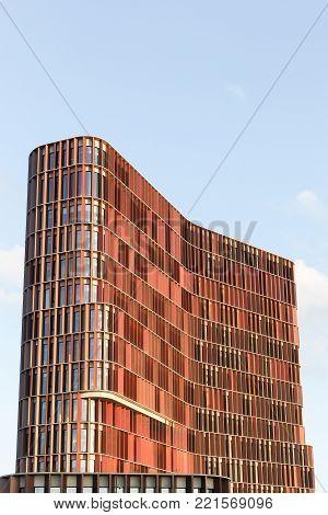 Copenhagen, Denmark - September 10, 2017: The Maersk tower in Copenhagen, Denmark. The Maersk tower is the faculty of health and medical sciences